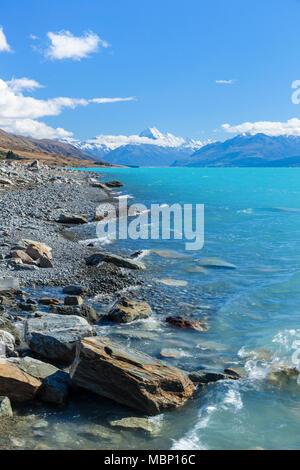La Nouvelle-Zélande île du Sud Nouvelle-Zélande mount Cook national park Lake Shore du lac Pukaki nouvelle-zélande vers le Mont Cook Mackenzie district nz Banque D'Images