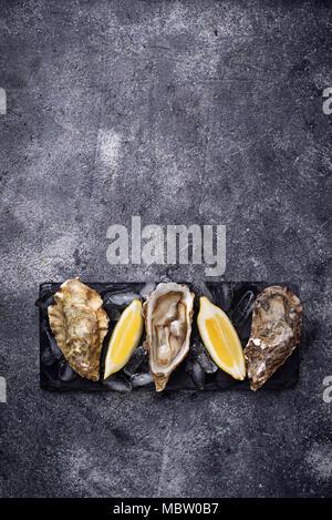 Des huîtres avec du citron sur fond sombre Banque D'Images