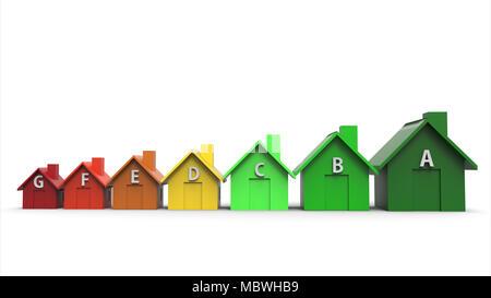 Maisons multicolores directive efficacité énergétique concept avec signe sur la chambre. 3d illustration Banque D'Images