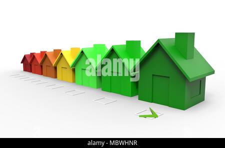 Maisons multicolores concept directive efficacité énergétique. 3d illustration Banque D'Images