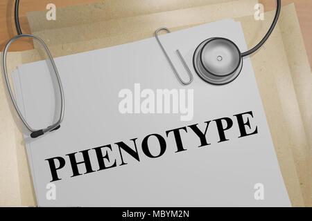 3D illustration de phénotype titre sur un document médical Banque D'Images