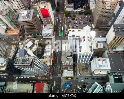 Vue aérienne du Quartier Central des Affaires d'Auckland, Nouvelle-Zélande