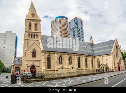 Demeure seigneuriale, église catholique à service complet doté d'un design très ornés avec beaucoup de vitraux, quartier central des affaires d'Auckland, Nouvelle-Zélande