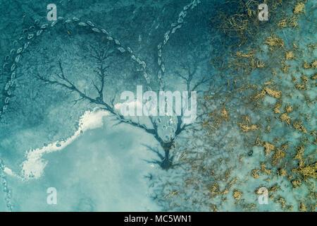 Abstract natural background glacées. Lac gelé. Sur la surface d'un lac gelé Banque D'Images