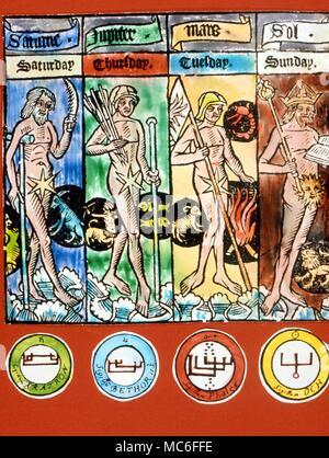 Astrologie - planètes cachets pour le planétaire ou esprits Olympiques, avec train planétaire sigil (haut), nom (en bas) et de l'énigme démoniaque (centre). De gauche à droite, Aratron, Bethor, Péleg et Och (de Saturne, Jupiter, Mars et le Soleil), respectivement) Banque D'Images
