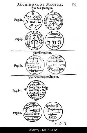 GRIMOIRES MÉDICAUX - TALISMANS Les talismans sont des chiffres magiques conçues pour atteindre certains effets par des moyens spirituels - généralement en évoquant le pouvoir d'un ange ou démon. Les exemples sur cette plaque sont des talismans, destinés à protéger contre certaines maladies. Les chiffres magiques tirés sur l'envers et ne sont guère plus que des sceaux et de pétrole brut grec ou latin mots magiques. De Iohann Huser, Archidoxis Magicae , 1590, qui est basé sur les écrits de Paracelse. En partant du haut, de gauche à droite. Les quatre images d'être faite sur le fer (en haut) et l'or (en bas) lamens, d'être ef Banque D'Images