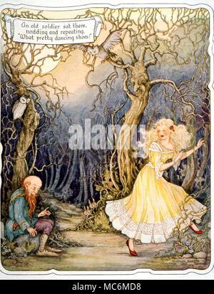 Contes de fées - LES CHAUSSURES ROUGES. Le vieux soldat admire les chaussures rouges. Illustration par Doren Baxter. À partir de l'ensemble du conte, ch. 1949 Banque D'Images