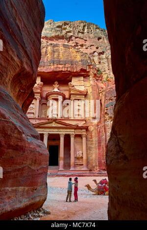 Al Khazneh, ancienne ville du Trésor Petra, Jordanie Banque D'Images