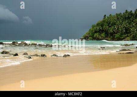 Plage de Mirissa, Sri Lanka: l'eau turquoise, du sable fin, des vagues pour le surf, parsemée de rochers et bordée de cocotiers. Le paradis!