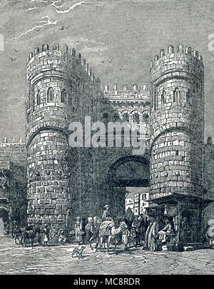 Cette illustration de la porte d'El Futuh, également connu sous le nom de Bab al-Futuh ou conquête de la porte) au Caire, Égypte, date d'environ 1900. Cette porte est toujours au Caire et a fait partie de la vieille ville du Caire. Il a été achevé en 1087 et fait face au nord. Ses tours arrondies a offert plus de la défense et les arbres avaient pour défenseurs à verser de l'eau bouillante ou de l'huile sur les attaquants. Banque D'Images