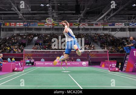 Gold Coast, Australie, 14 avril 2018. Kirsty Gilmour (SCO). Womens des célibataires. La médaille de bronze. Le Badminton. XXI Jeux du Commonwealth. Carrara Sports Hall 2. Côte d'or 2018. Le Queensland. L'Australie. 14/04/2018. Credit: Sport en images/Alamy Live News Banque D'Images