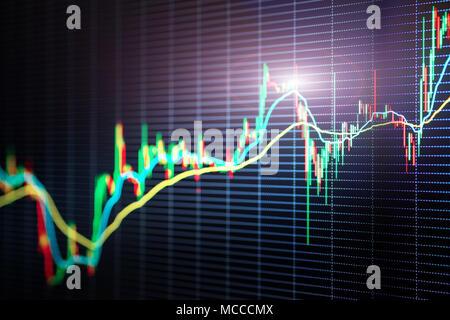 Stock Market bougies bars graphique. Focus sélectif. La tendance de prix, bourse ou thème de bourse Banque D'Images