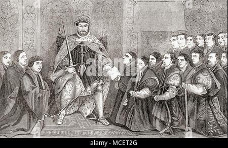 Henry VIII L'octroi de la charte royale à la Compagnie des coiffeurs pour hommes et la Guilde des chirurgiens sur leur fusion en 1540. Une charte royale est un document officiel délivré par un monarque et accorde un titre ou un statut à une personne ou à des personnes. Henry VIII, 1491 - 1547. Roi d'Angleterre. Après la peinture de Hans Holbein. À partir de la vieille Angleterre: A Pictorial Museum, publié 1847. Banque D'Images