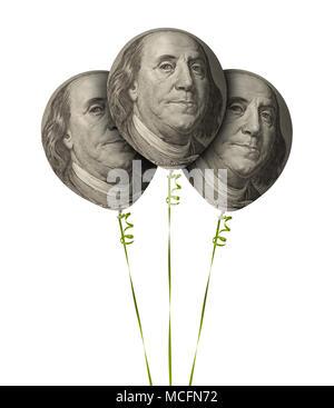 Trois ballons argent isolé sur un fond blanc. Banque D'Images