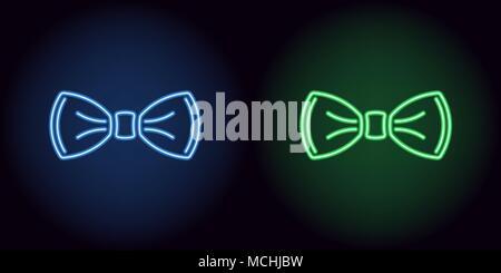 Noeud papillon Neon en bleu et vert. Vector illustration de noeud papillon neon composé d'expose, avec rétro-éclairage de l'arrière-plan noir