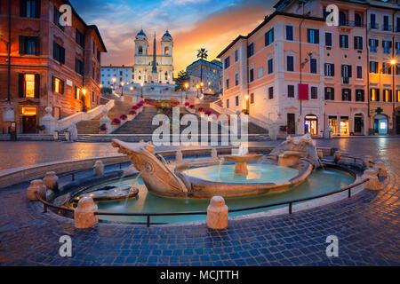 Rome. Image de la ville d'Espagne à Rome, en Italie pendant le lever du soleil. Banque D'Images