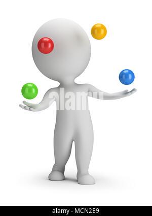 Petit 3d personne jette des boules colorées. Image 3d. Arrière-plan blanc. Banque D'Images