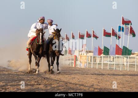 Nizwa, Oman - Apr 13, 2018: Brave Omani men montrer leurs aptitudes de conduite acrobatique au-dessus de leur féroce arabian etalons galoper à pleine vitesse Banque D'Images