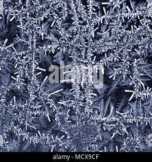 Close up de cristaux de glace formant un motif abstrait. Conçu pour être utilisé comme arrière-plan. Banque D'Images