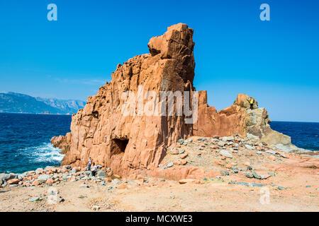 Rock formation sur la plage de Rocce Rosse, Arbatax, Sardaigne, Italie Banque D'Images