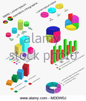 Télévision infographie 3D isométrique. 3D isométrique vecteur d'infographie avec des diagrammes et des graphiques couleur. Infographie et schéma de couleur isométrique Banque D'Images