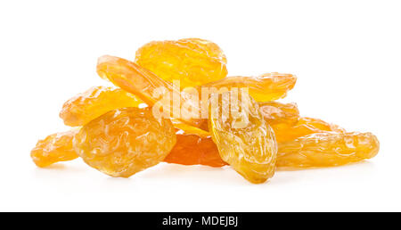 Raisins secs jaune isolé sur fond blanc, avec chemin de détourage