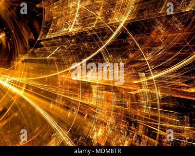Tunnel d'or - résumé de l'image générée par ordinateur. L'art numérique: surface interne de la structure de verre, couverte de rayures et de rayures. Pour web d Banque D'Images