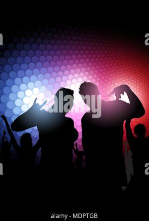 La silhouette du Party People plus de lumières colorées Banque D'Images