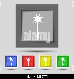 Mace signe sur l'icône original de cinq boutons de couleur. Vector illustration Banque D'Images