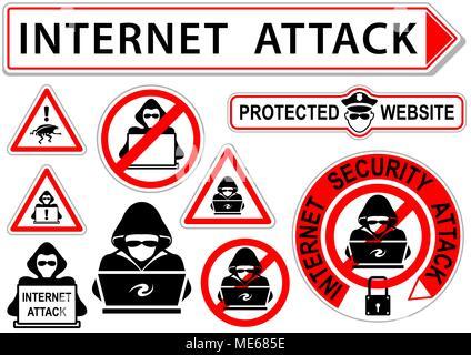 Signes d'attaque ou d'icônes Internet Banque D'Images