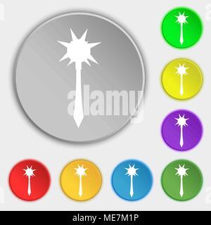Icône Mace signe. Symbole sur cinq boutons plats. Vector illustration Banque D'Images