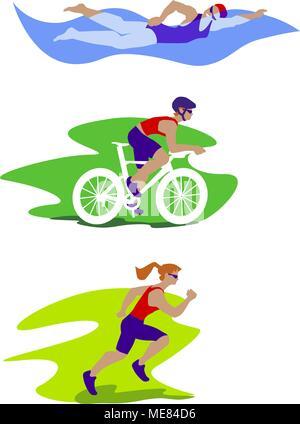 Femme Triathlon vector set. Banque D'Images