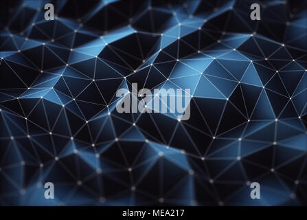 3D illustration. Image abstraite, les connexions dans les lignes et formes géométriques. Notion de technologie pour l'utiliser comme arrière-plan. Banque D'Images