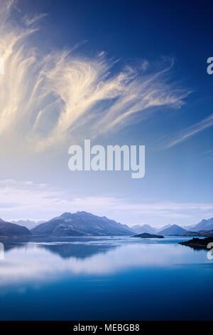 Le Lac Wakatipu près de Glenorchy, île du Sud, Nouvelle-Zélande. Banque D'Images