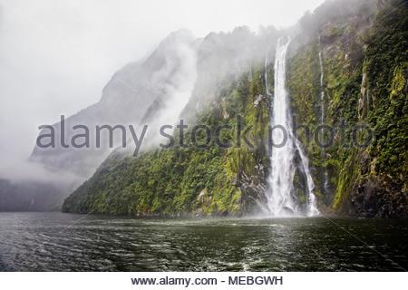 Une journée typique dans la pluie, nuageux, Milford Sound à Fiordland, île du Sud, Nouvelle-Zélande. Banque D'Images