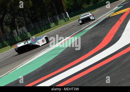Circuit d'Imola, 21 avril 2018. Riccardo Patrese dur Lancia Martini LC1 Moteur prototype lors du Festival 2018 de légende au circuit d'Imola en Italie. Crédit: dan74/Alamy Live News Banque D'Images