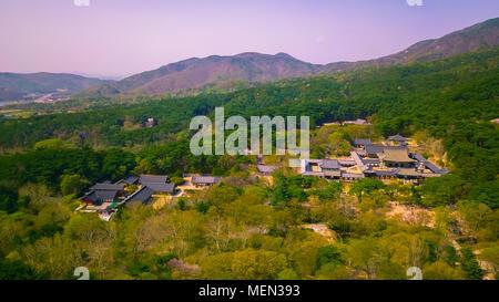 Vue aérienne de la ville de Gyeongju durant la saison du printemps, la Corée du Sud. Banque D'Images