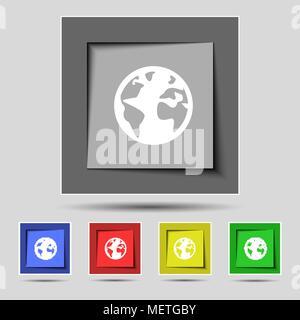Carte du monde de l'icône Globe signe symbole de la géographie. Monde sur le stand pour l'étude. Les boutons Set colur Vector illustration Banque D'Images