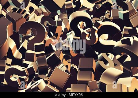 Le rendu 3d illustration de l'explosion de particules d'interrogation comme concept de perplexion et la confusion, pour obtenir des réponses Banque D'Images