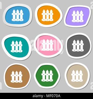 L'icône Clôture signe. Papier autocollants multicolores. Vector illustration Banque D'Images