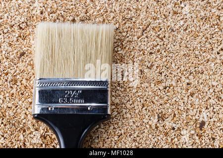 Close-up de la sciure de bois au pinceau Banque D'Images