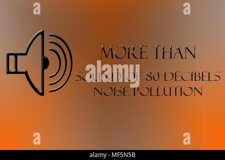 Au-dessus de 80 décibels le bruit écrit sur une pente et de la forme de DJ ou le président. Banque D'Images