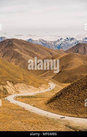 Route du col de Lindis, Pass, Alpes du Sud, de l'Otago, Southland, Nouvelle-Zélande Banque D'Images