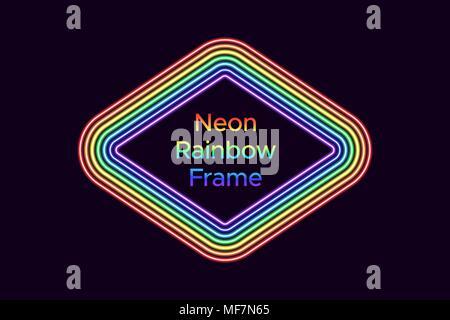 Cadre en losange au néon de couleur arc-en-ciel. Modèle vectoriel de rainbow neon frame composée de 7 lignes sur le fond sombre Banque D'Images