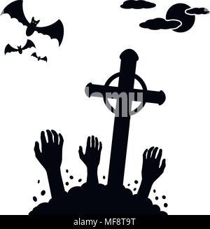 Concept d'Halloween, zombie mains sortant du sol des cimetière. Vector illustration. Banque D'Images