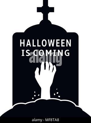 L'arrivée de l'Halloween concept. Pierre tombale icône avec la main de zombie. Vector illustration. Banque D'Images