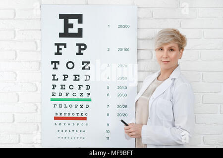 Ophtalmologiste qualifié restant en face de la table d'inspection visuelle, la pendaison sur mur blanc en laboratoire médical. Médecin Expirienced peple aidant à améliorer leur santé oculaire et la vision. Banque D'Images