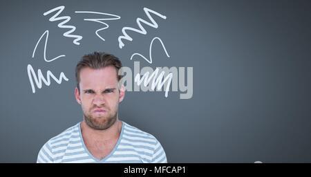 L'homme furieux en colère avec scribble doodles sur fond gris Banque D'Images