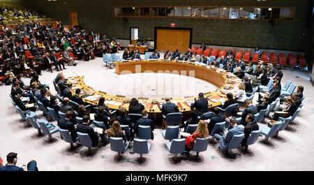 New York City, USA. Apr 26, 2018. Réunion du Conseil de sécurité des Nations Unies à New York. Credit: SOPA/Alamy Images Limited Live News Banque D'Images