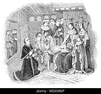 Richard Woodville, comte Rivers (1405 - 1469) d'un noble anglais, et le père de la Reine consort, Elizabeth Woodville présentant William Caxton (1422 - 1491) pour le roi Édouard IV. Caxton était le marchand anglais, l'écrivain et de l'imprimante pensé pour être la première personne à introduire une presse d'impression en Angleterre, en 1476. Le premier livre connu pour avoir été produit il y a une édition de Chaucer, Les Contes de Canterbury. Il a peut-être le premier imprimé versets de la Bible pour être imprimés en anglais, ainsi que des romances chevaleresque, des oeuvres classiques et de l'anglais et l'histoire romaine. Banque D'Images
